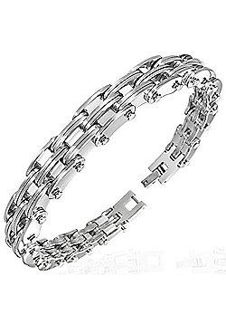 Urban Male Stainless Steel Modern Link Bracelet for Men 10mm Wide