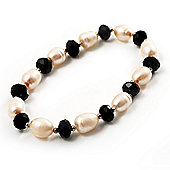 Ivory Freshwater Pearl & Black Glass Bead Flex Bracelet -19cm Length