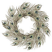 TESCO PEACOCK FEATHER WREATH 15 INCHES