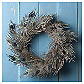 Tesco Peacock Feather Wreath, 40cm