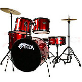 Tiger Full Size 5 Piece Drum Kit - Red