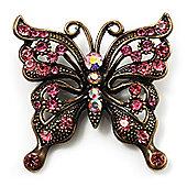 Bronze Filigree Pink Diamante Butterfly Brooch