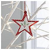Gisela Graham Wooden Scandi Star Hanging Decoration
