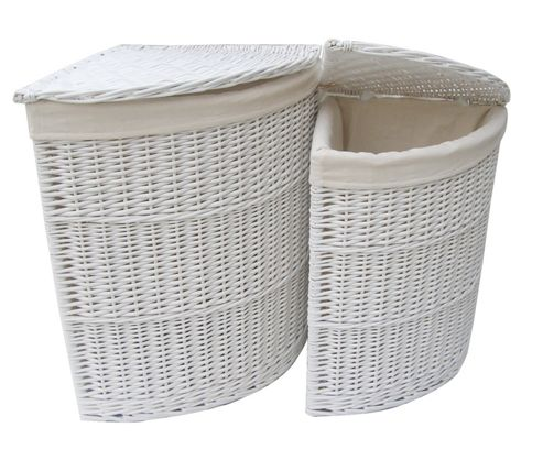 Wicker Valley Willow Corner Laundry Basket in White (Set of 2)