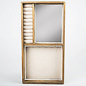 Retro Chic - Wall Mounted Jewellery Box With Mirror - Brown / Cream