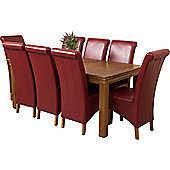 French Chateau Rustic Solid Oak 180 cm Dining Table with 8 Burgundy Montana Leather Chairs