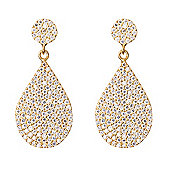 Gold plated drop earrings with pave teardrop shape