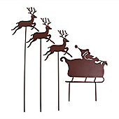 Coloured Metal Flying Father Christmas Silhouette with Three Reindeer Ornaments