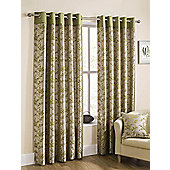 Flora Ready Made Lined Eyelet Curtains Green 90X72