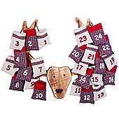 Wooden Christmas Advent Calendar Reindeer Head with Numbered Fabric Bags