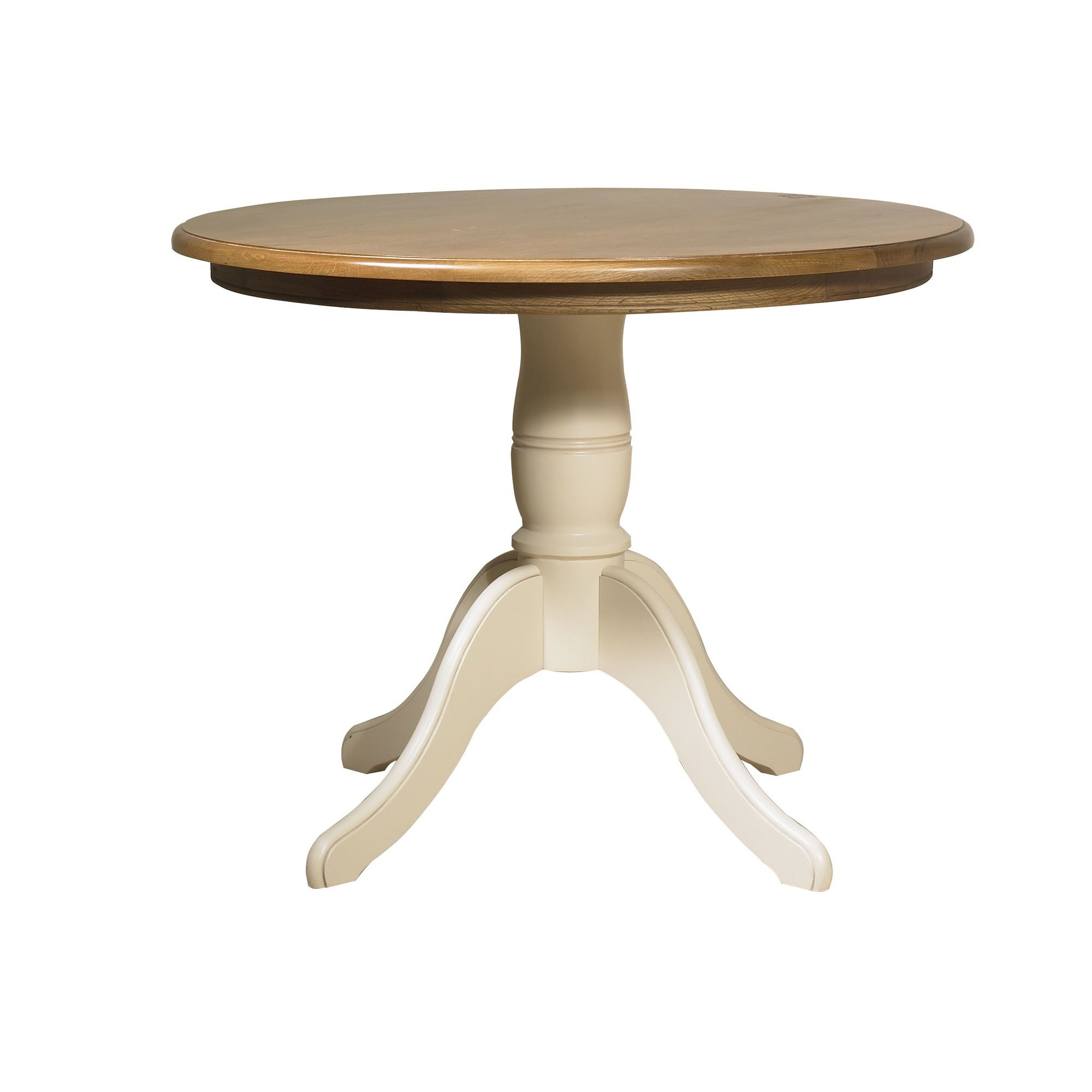 YP Furniture Country House Circular Dining Table - Oak Top and Ivory