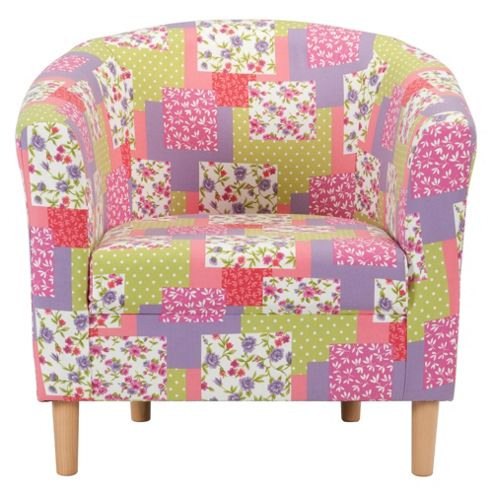 Tub Fabric Accent Chair Patchwork