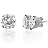 Urban Male Men's Sterling Silver 8mm Round CZ Stud Earrings