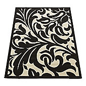 Home Essence Element Warwick Black / Ivory Contemporary Rug - 250cm x 180cm (8 ft 2.5 in x 5 ft 11 in)