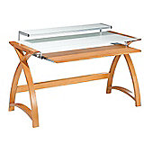 Jual Curve - Curved Compact Oak and White Glass Desk