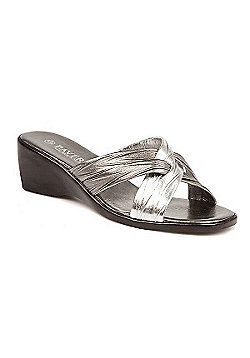 Pavers Mid-Heel Wedge Mule with Crossover Straps Black - 2 - Metallic