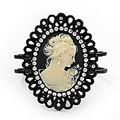 Large Diamante 'Classic Cameo' Hinged Bangle Bracelet In Black Metal - up to 18cm wrist