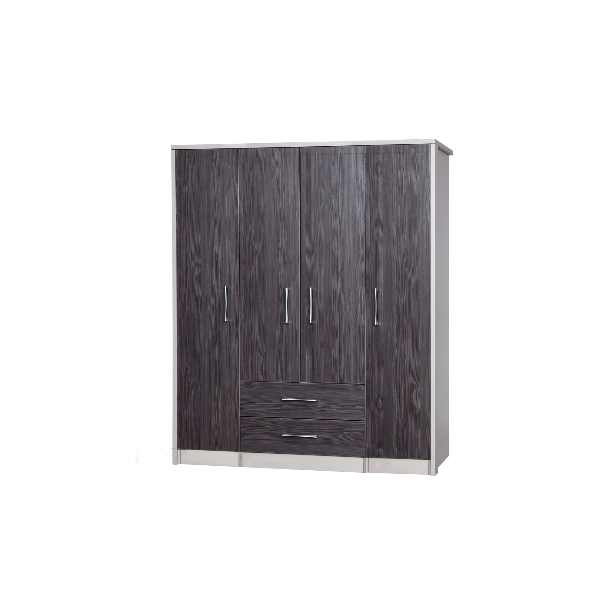 Alto Furniture Avola 4 Door Combi and Singles Wardrobe - Cream Carcass With Grey Avola at Tescos Direct