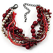 Multistrand Beaded Bracelet (Red, Cranberry&Gold)
