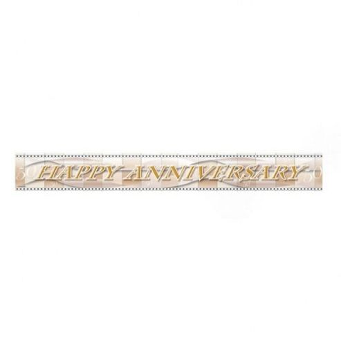 Party - Happy Anniversary Foil Banner - Gold - Amscan