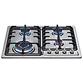 HCG622 4 Burner Gas Hob with Front Controls in Stainless Steel