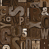 Muriva Slate Letters Wallpaper - Brown