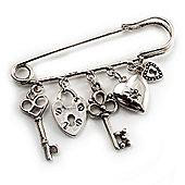 Key, Lock And Heart Locket Charm Safety Pin Brooch (Silver Tone)