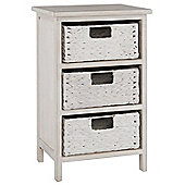 Pacific Lifestyle 3 Drawer Water Hyacinth Unit - White