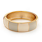 Round Enamel Hinged Bangle Bracelet In Gold Plated Metal (Cream/Beige) - 18cm Length