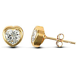 Jewelco London 9ct Yellow Gold heart shaped studs Rub-Over set with solitaire CZ stone