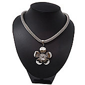Rhodium Plated 'Flower' Pendant Mesh Magnetic Necklace - 38cm Length