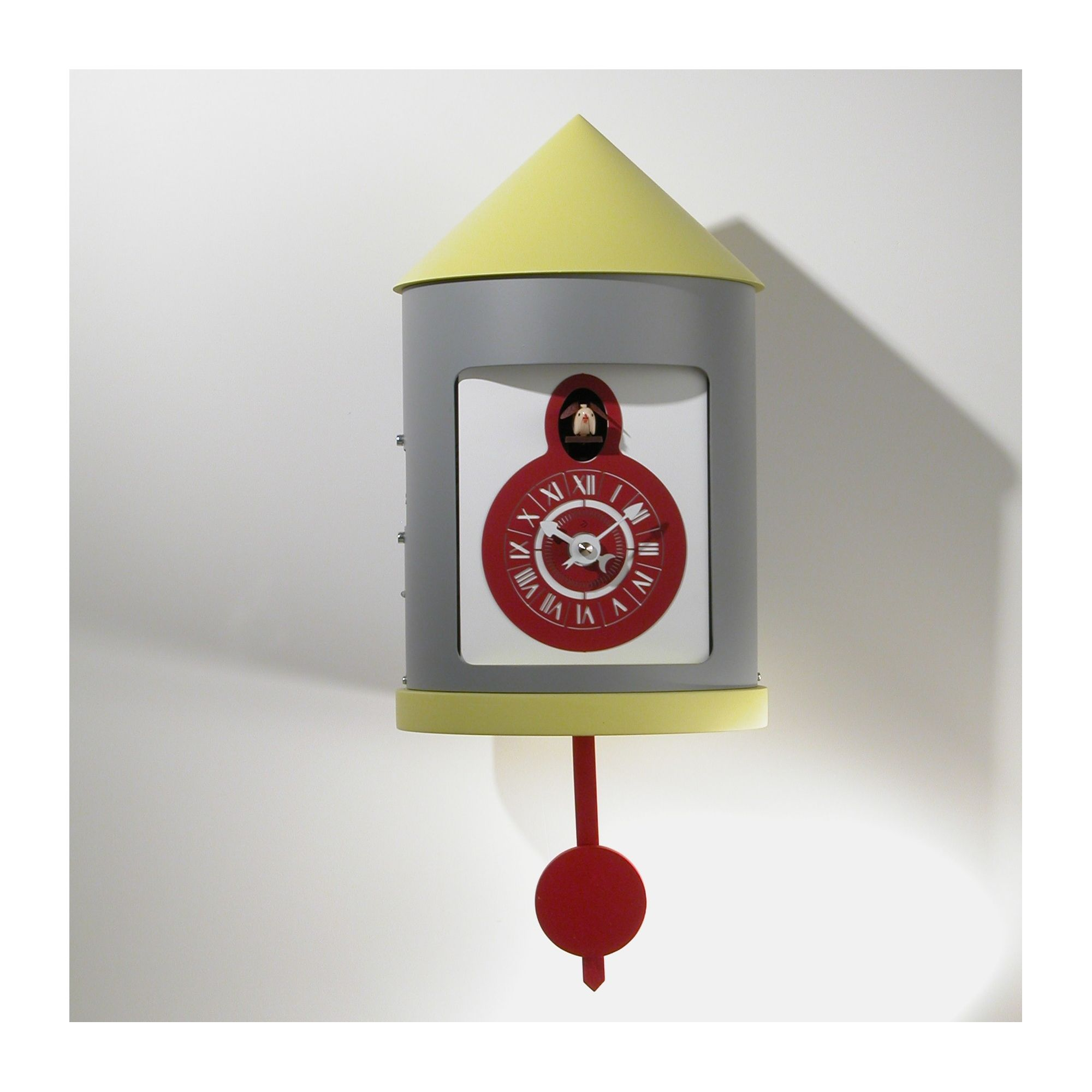 Progetti Silos Cuckoo Clock in White and Yellow at Tesco Direct