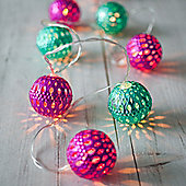 10 LED Pink & Teal Moroccan Orb Battery LED Fairy Lights