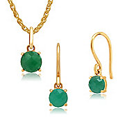 Amour Damier 9ct Yellow Gold Emerald Drop Earrings & 45cm Necklace Set by Gemondo