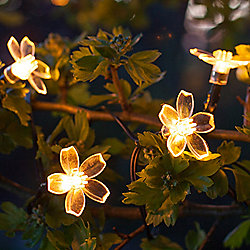 30 Warm White LED Flower Solar Garden Fairy Lights