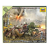 Zvezda - Soviet Machine Gun Maxim With Crew 1941-1943- 1:72 Scale 6104