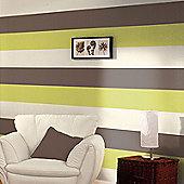Stripe Wallpaper - Chocolate / Lime / Cream - E40904
