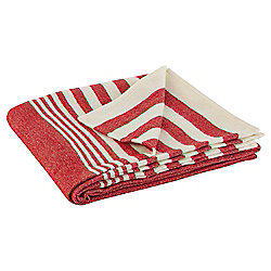 Knitted Stripe Throw, Red