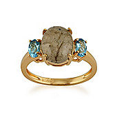 Gemondo Gold Plated Sterling Silver 2.35ct Labradorite & 0.50ct Blue Topaz Three Stone Ring