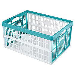 Tesco 32L Plastic Folding Crate, Aquamarine