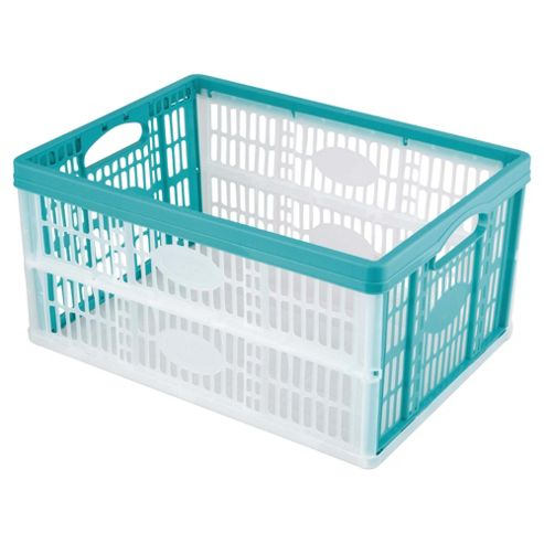 Tesco 32L Plastic Folding Crate, Aquamarine