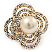 Large Prom, Four Petal Crystal, Pearl 'Flower' Stretch Ring In Gold Plating - 40mm Across - Size 6/7