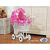 Handmade Girls Dolls Pram White Wicker - Printed