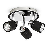 Benton Three Way Round Energy Saving GU10 Ceiling Spotlight Black & Chrome
