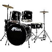 Tiger Black Full Size Beginner Drum Kit with Stool and Sticks