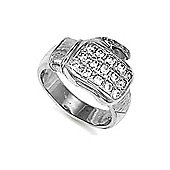 Rhodium Coated Sterling Silver Cubic Zirconia set boxing glove Ring Size