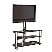 LED/LCD/Plasma Glass TV Stand With TV Mount 32 To 42 Inches - Silver & Black