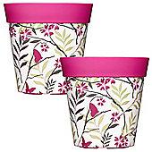 2 x 22cm Pink Birds & Branches Plastic Garden Planter 5L Flowerpot by Hum