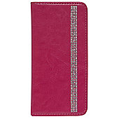 Tortoise™ Look Faux Leather Decorative Notebook Case iPhone 6 Diamante Pink