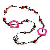 Shell & Wood Bead Long Necklace (Pink, Black, Purple & Corral) - 90cm Length